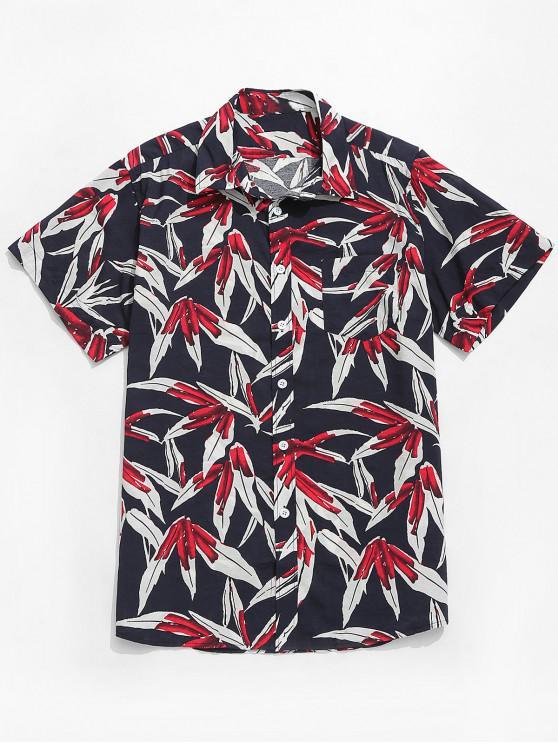 fashion Plant Leaves Printed Short Sleeves Shirt - MULTI XL