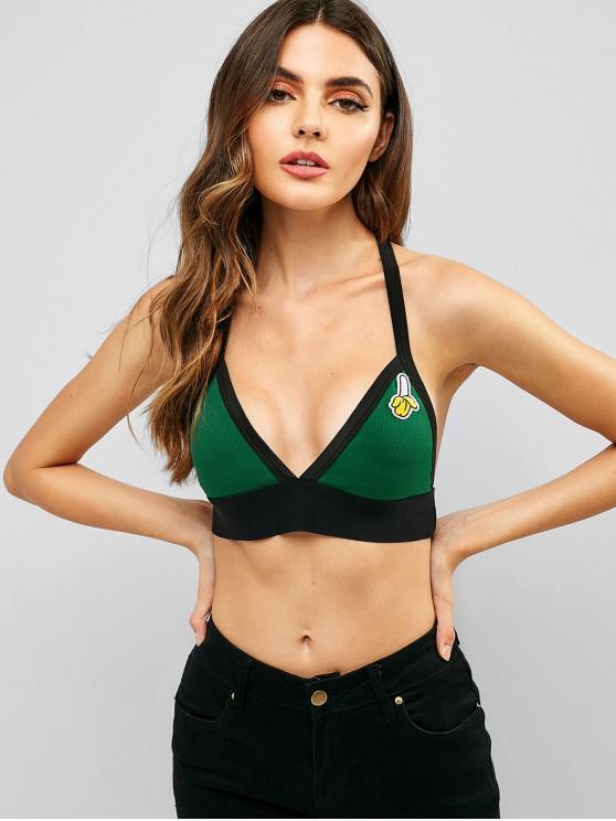 women's Embroidered Halter Bralette Crop Top - SEA GREEN M