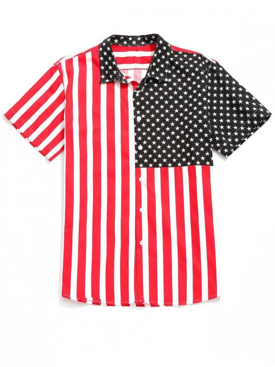 buy American Flag Print Short Sleeves Beach Shirt - MULTI M