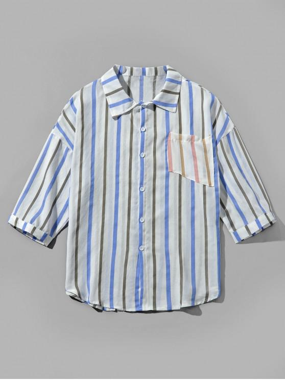 fancy Chest Pocket Striped Printed Casual Shirt - SEA BLUE L