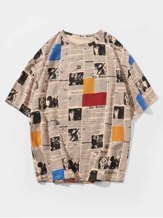 buy Retro Newspaper Print Casual T-shirt - LIGHT KHAKI 2XL