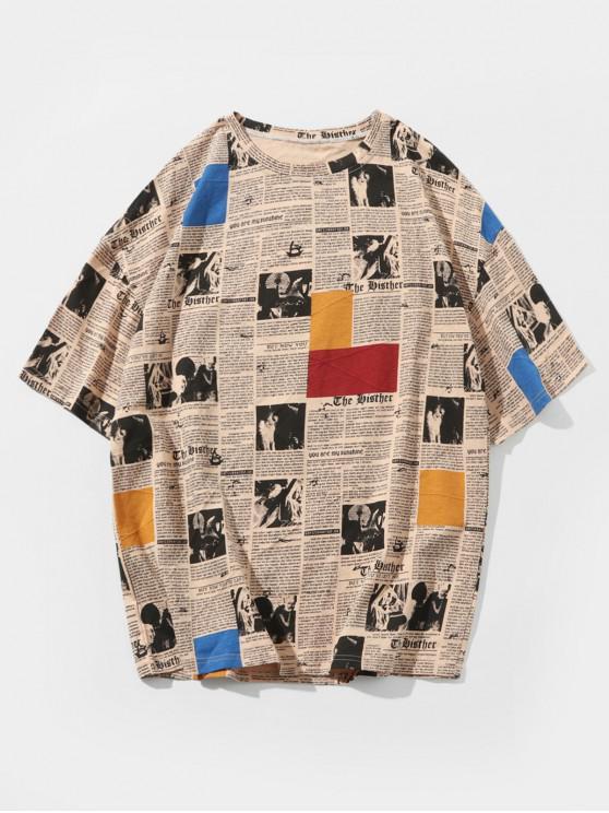 womens Retro Newspaper Print Casual T-shirt - LIGHT KHAKI 3XL