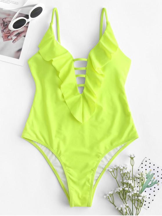 best ZAFUL Strappy Ruffle One-piece Swimsuit - GREEN YELLOW M