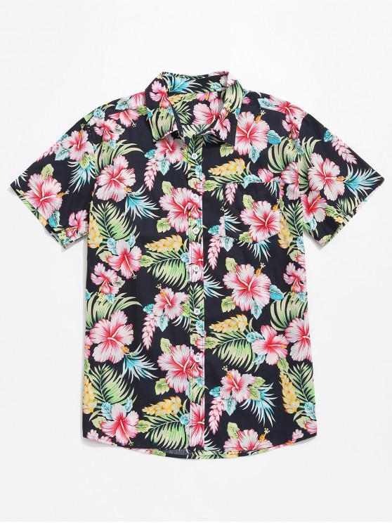 lady Flowers Plant Print Casual Short Sleeves Shirt - MULTI S