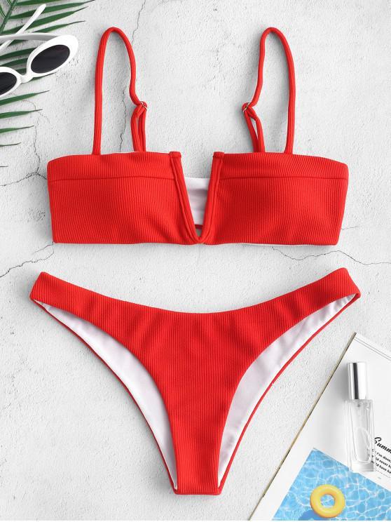 ZAFUL Verknotetes V-Draht-Bikini-Set mit Rippenmuster - Lava Rot L
