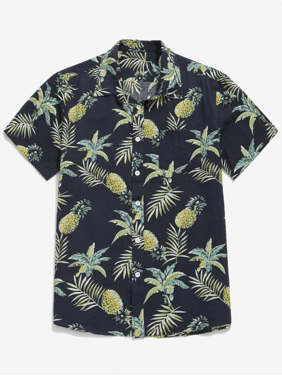 Ananas-Blätterdruck- Strandhemd - Schwarz 2XL
