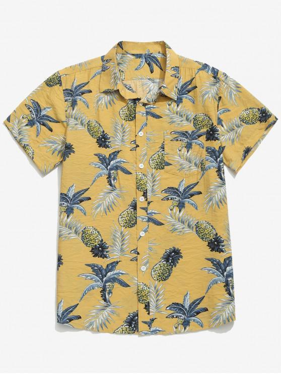 hot Pineapple Leaves Print Beach Shirt - GOLDENROD XL