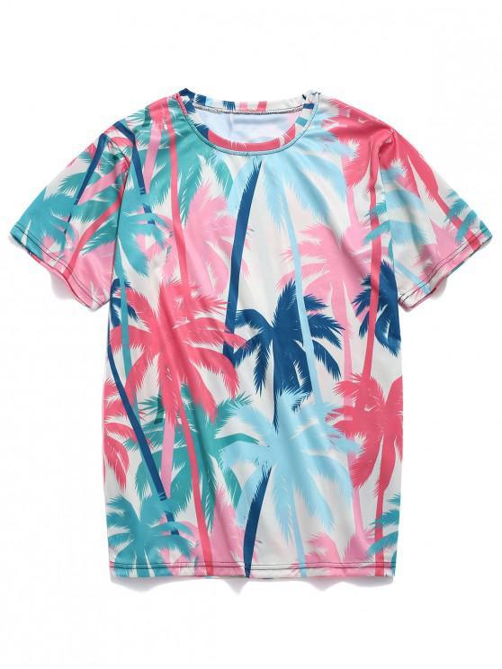 Camiseta casual con estampado de árboles de coco de la playa - Rojo Frijol 2XL