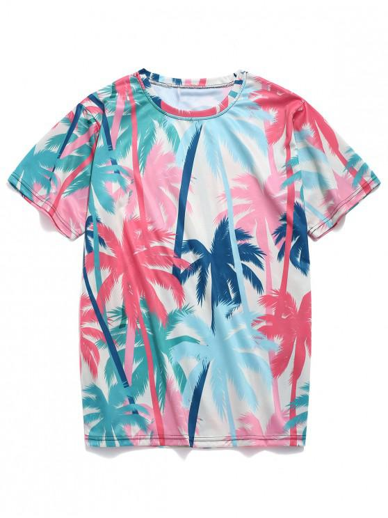 best Coconut Trees Print Beach Casual T-shirt - BEAN RED M