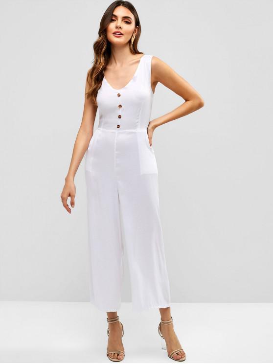 chic Buttons Sleeveless Wide Leg Jumpsuit - WHITE XL