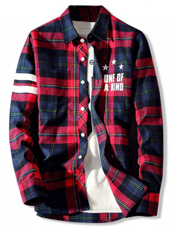 women Letters Plaid Print Long Sleeves Shirt - RED XS
