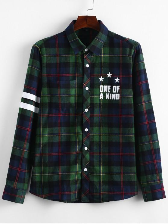 online Letters Plaid Print Long Sleeves Shirt - GREEN S