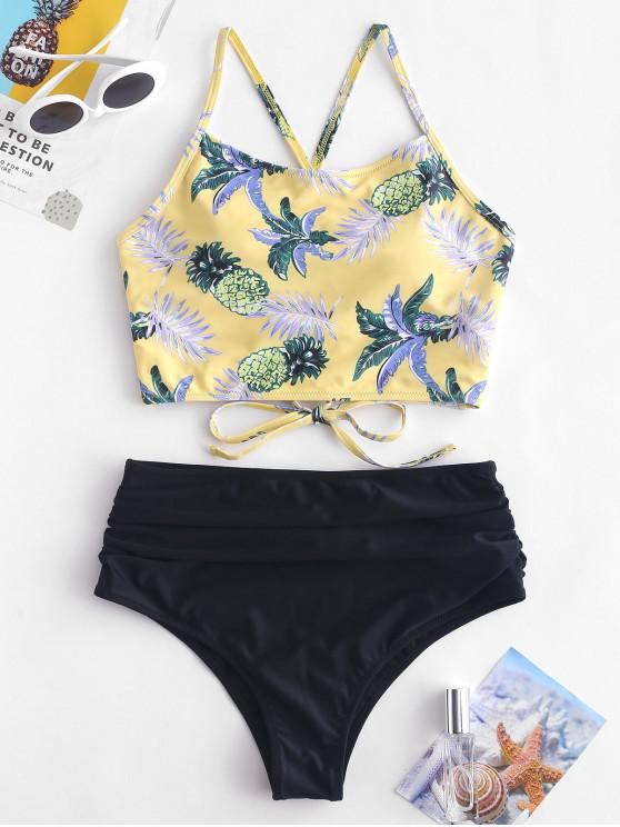 fancy ZAFUL Pineapple Leaf Ruched High Waisted Tankini Set - GOLDENROD S