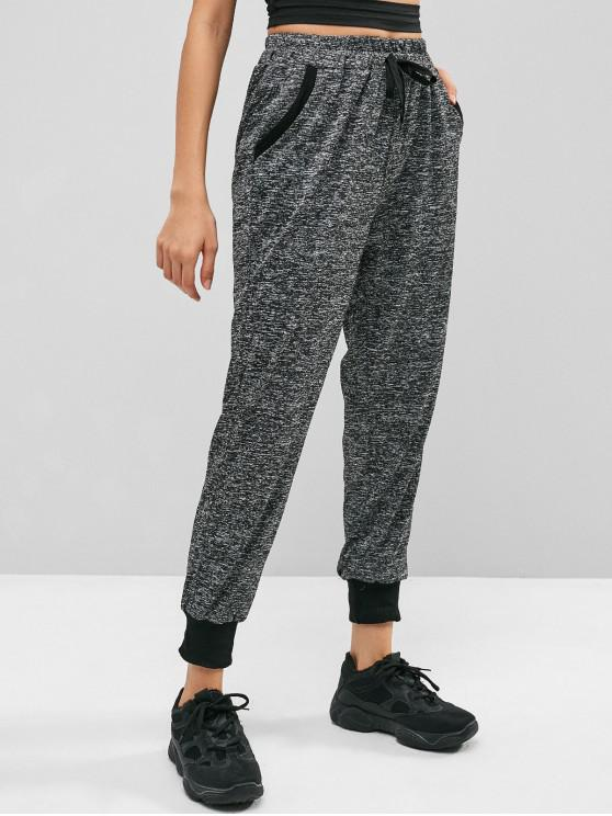 unique Heathered Drawstring Jogger Pants - GRAY L