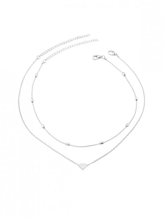 women 2Pcs Heart Collarbone Necklace Set - SILVER