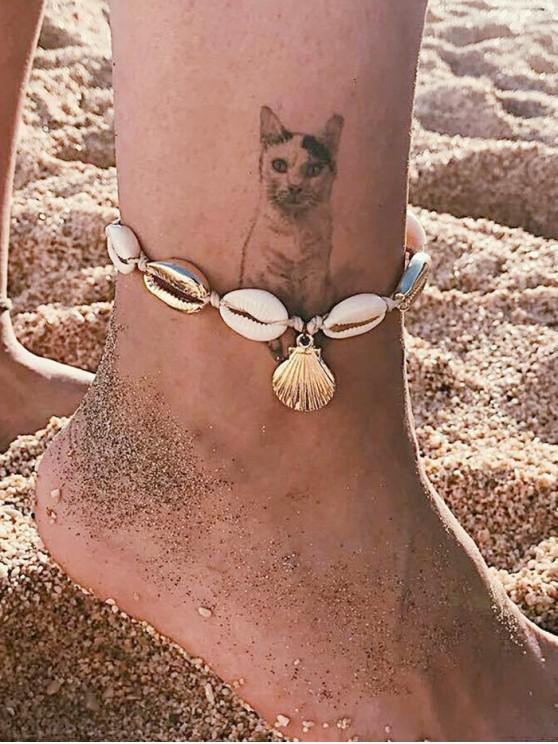 women's Beach Cowrie Shell Rope Anklet - GOLD