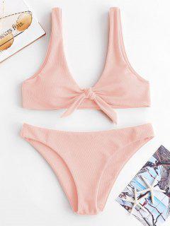 ZAFUL Knot Textured Bikini Set - Light Pink S