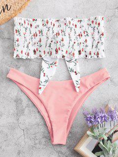 ZAFUL Knot Plant Print Smocked Bikini Set - Light Pink M