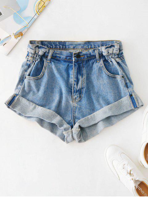 Shorts de mezclilla de cintura alta con puños enrollados - Azul de Jeans  L Mobile