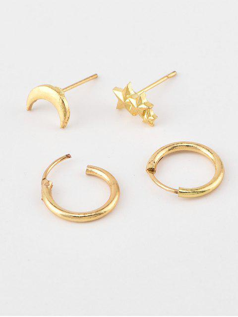 fancy Star Moon Stud and Hoop Earrings - GOLD  Mobile