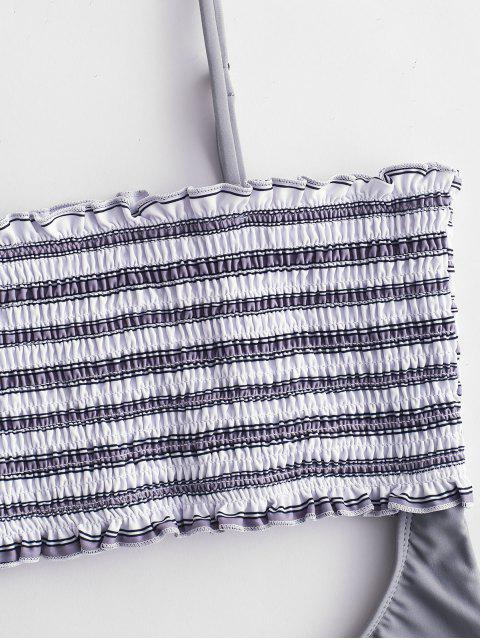 latest ZAFUL Shirred Striped Cutout Bandeau Swimsuit - GRAY GOOSE S Mobile