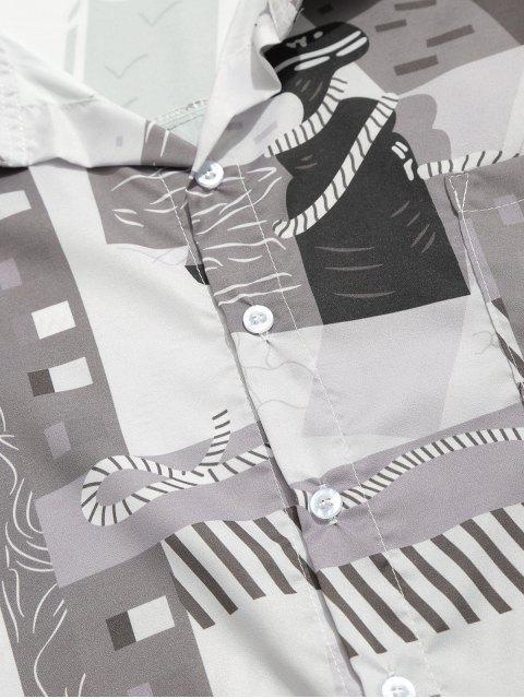 Camisa estampada con gráfico geométrico de hombro caído - Gris L Mobile