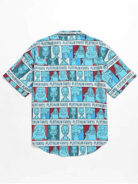 chic Cartoon Characters Letters Print Graphic Shirt - TURQUOISE 2XL Mobile