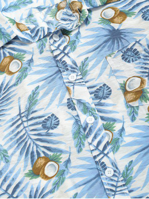 affordable Coconut and Plant Leaves Print Beach Shirt - DODGER BLUE 2XL Mobile