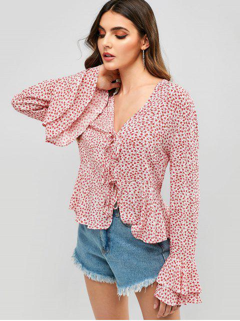 ladies Tie Front Floral Flare Sleeve Blouse - RED S Mobile