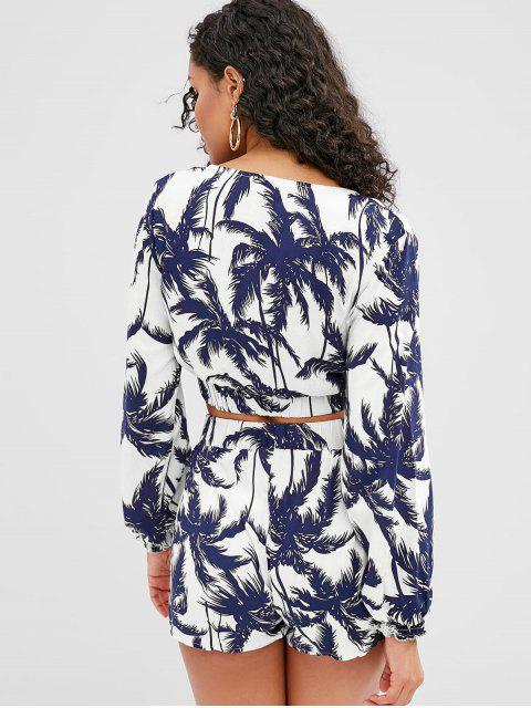 best ZAFUL Palm Tree Print Crop Top and Shorts Set - WHITE S Mobile