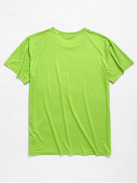 women Cartoon Eating Piggy Print Short Sleeves T-shirt - TEA GREEN 2XL Mobile