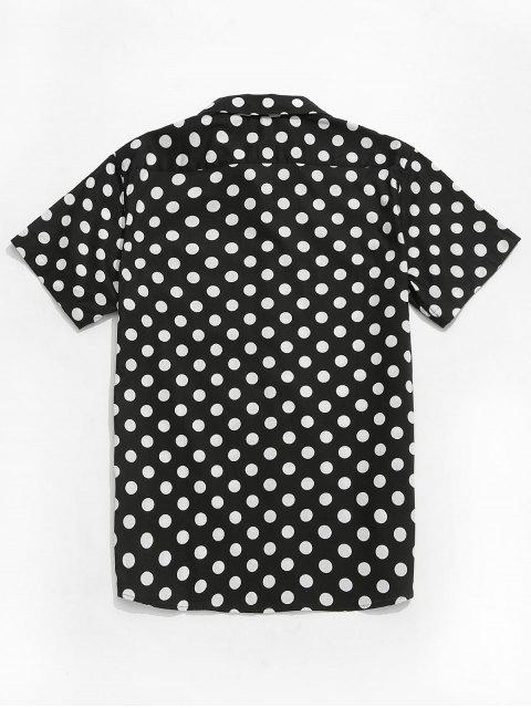 online Polka Dots Print Short Sleeves Casual Shirt - BLACK 2XL Mobile