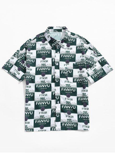 shop Letters Graphic Print Drop Shoulder Shirt - MEDIUM SEA GREEN 2XL Mobile