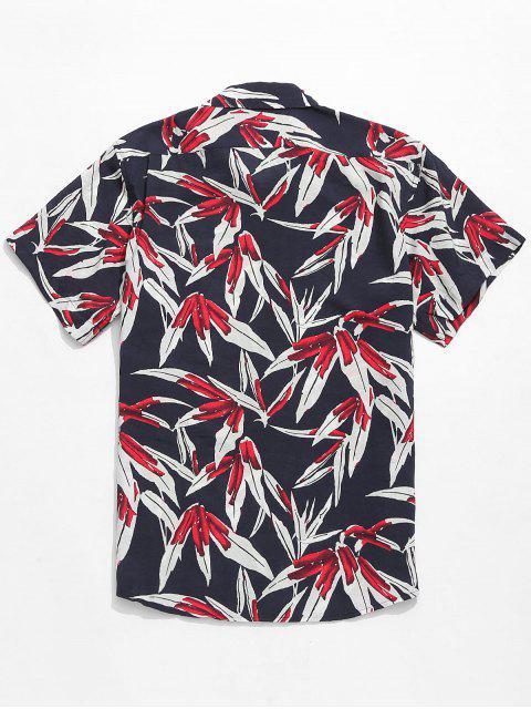 chic Plant Leaves Printed Short Sleeves Shirt - MULTI 2XL Mobile