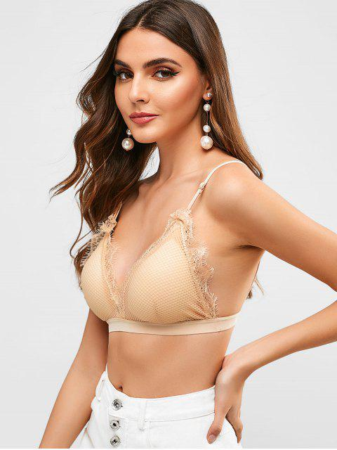 women Lace Panel Padded Lingerie Bra - BLANCHED ALMOND ONE SIZE Mobile
