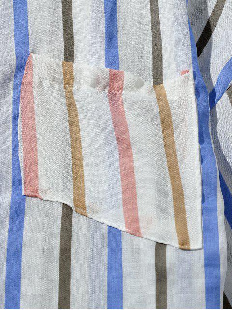 Camisa casual impresa a rayas de bolsillo en el pecho - Azul Marino M Mobile