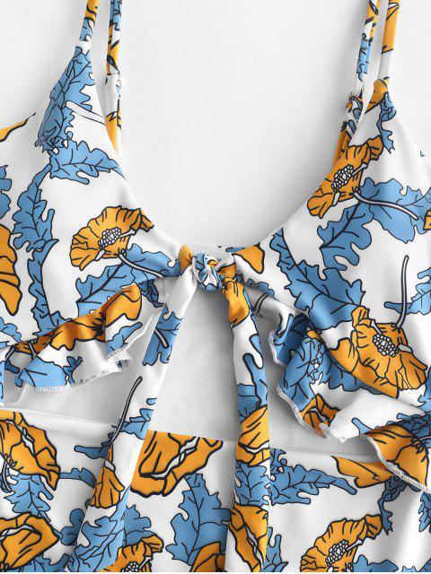 ZAFUL Traje de baño con estampado de volantes y estampado vegetal - Multicolor-A M Mobile