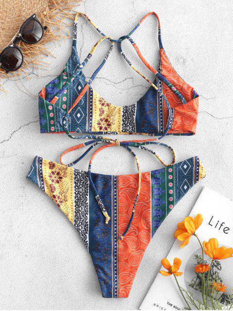outfit ZAFUL Floral Paisley Strappy Bikini Set - MULTI-B S Mobile
