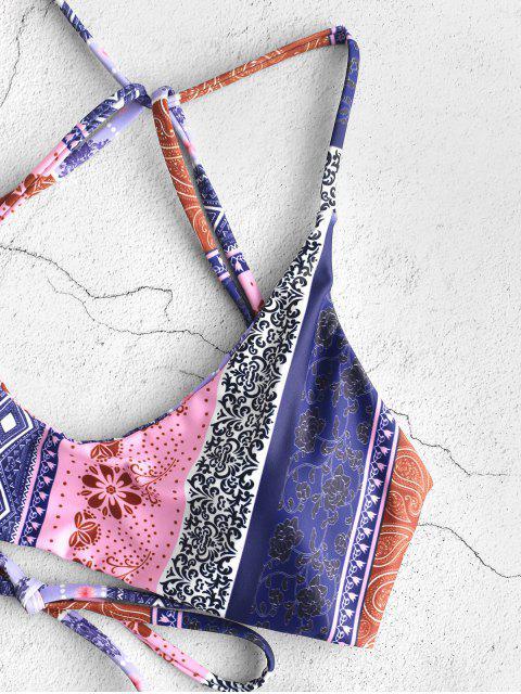 shops ZAFUL Floral Paisley Strappy Bikini Set - MULTI-C S Mobile