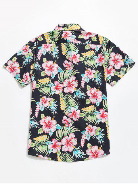 online Flowers Plant Print Casual Short Sleeves Hawaii Shirt - MULTI L Mobile