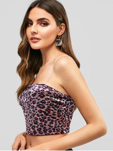 Voltar Zipper Leopard Velvet Cami Top - Multi L Mobile
