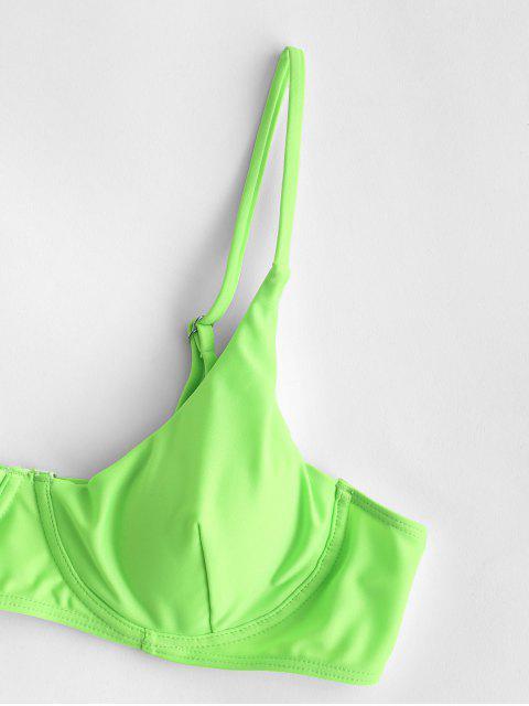 women ZAFUL Cheeky Underwire Neon Bikini Set - YELLOW GREEN S Mobile