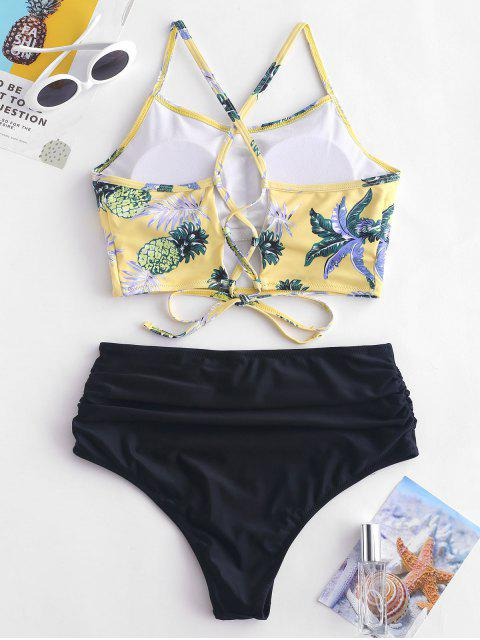 fancy ZAFUL Pineapple Leaf Ruched High Waisted Tankini Set - GOLDENROD S Mobile