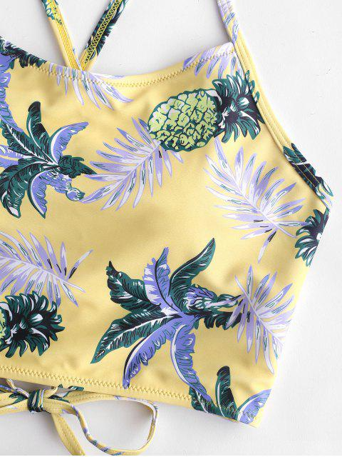 ladies ZAFUL Pineapple Leaf Ruched High Waisted Tankini Set - GOLDENROD L Mobile