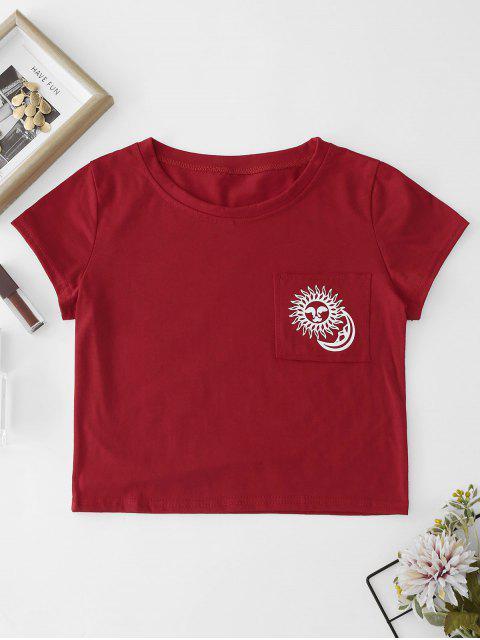 Parche bolsillo gráfico camiseta recortada - Rojo Lava L Mobile