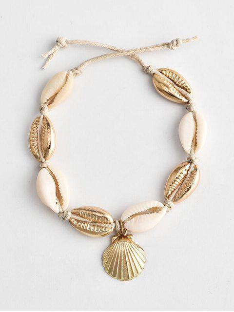 women's Beach Cowrie Shell Rope Anklet - GOLD  Mobile