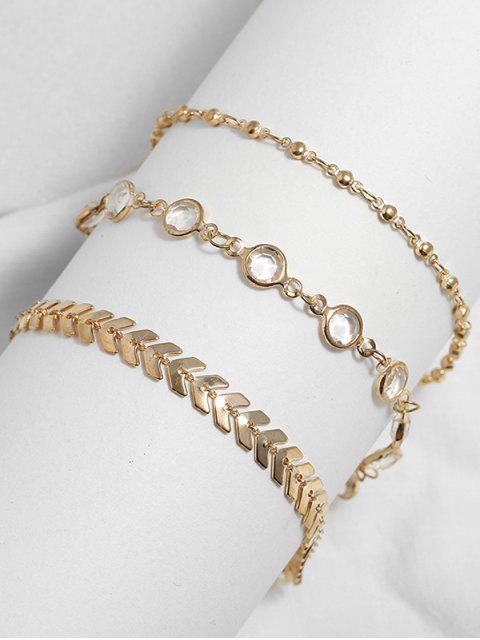 Juego de tobilleras con cadena de lentejuelas de flecha de 3 piezas - Oro  Mobile