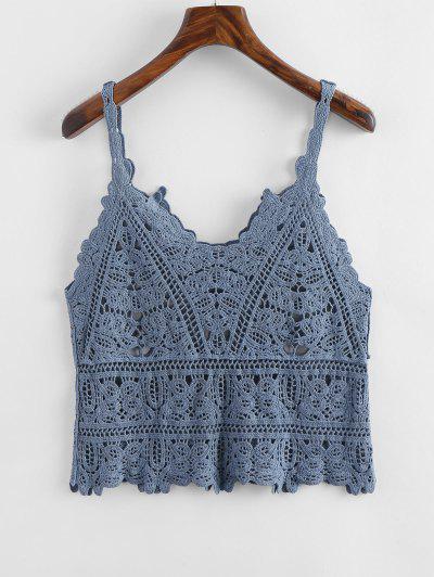 b11fd96e0749a3 Openwork Crochet Tank Top - Blue Gray