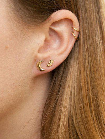 Star Moon Stud And Hoop Earrings - Gold