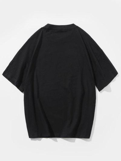 0b837fb6 ... Letters Cartoon Graphic Printed Casual T-shirt - Black M